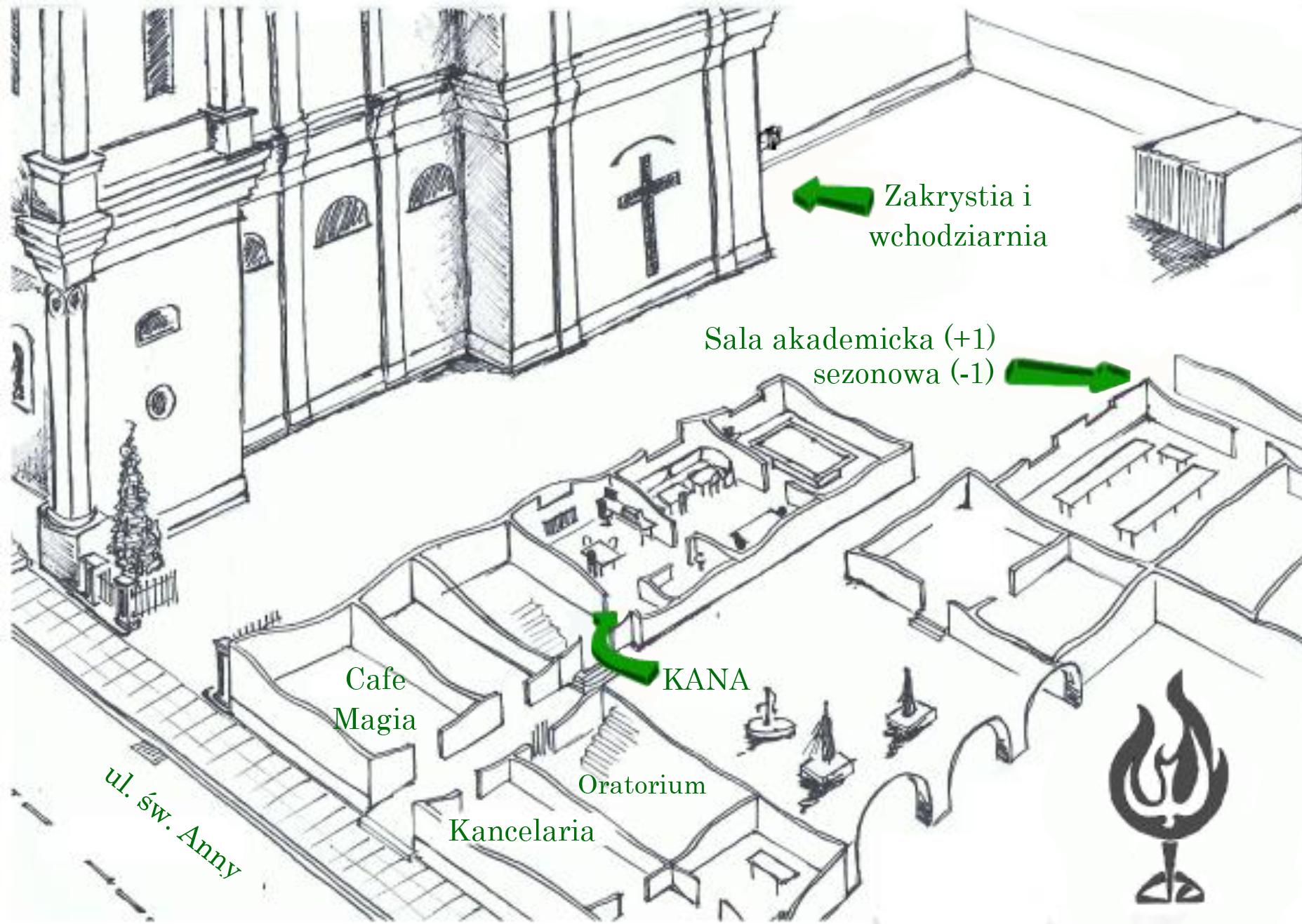 Mapa pomieszczeń w duszpasterstwie